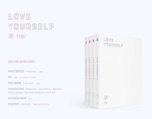 BTS - LOVE YOURSELF 承 [Her] [L.O.V.E versions SET] 4 CDs+Photobook+Photocard+4 Folded Posters+ Store Gifts 7 Photocards, 2 Postcrd, 2 Double-sided Photos & 2 Sticker by BTS - LOVE YOURSELF 承 [Her]