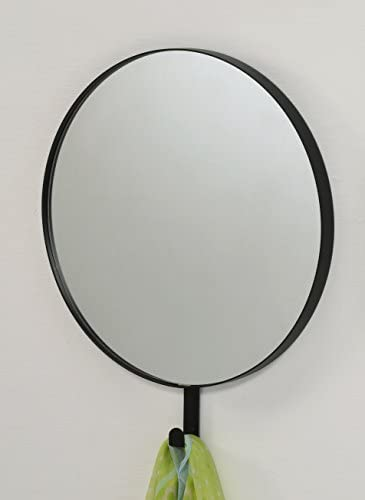 Kings Brand Black Round Wall Decorative Mirror with Hook for Coat, Hat, Scarf