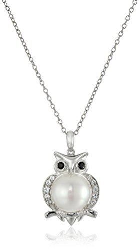 Sterling Silver Cultured Pearl and Lab White Sapphire Owl Pendant Necklace, 18