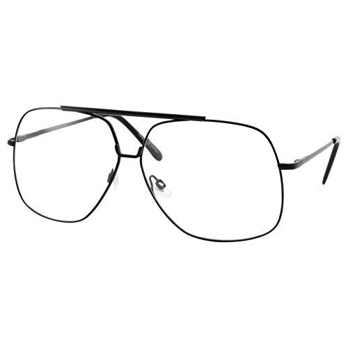 XL Mens Aviator Clear Lens Eye Glasses Square Fashion Oversized 62mm, - Glasses Aviator Square