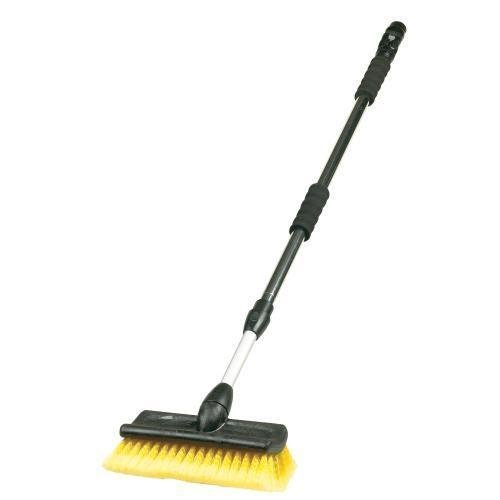 "Carrand 93097 Flow-Thru 10"" Bi-Level Wash Brush with Aluminum Extension Handle"