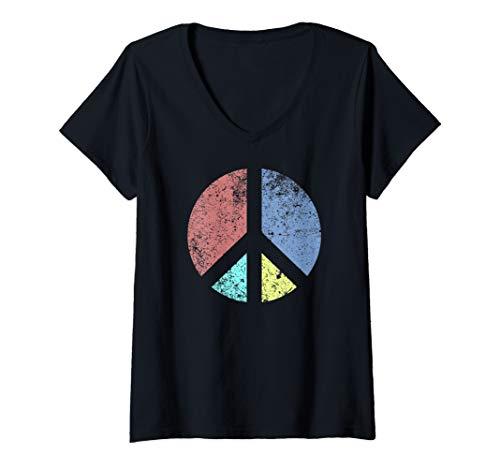 Womens Peace Sign Shirt Retro Inverse Hippie Symbol  V-Neck T-Shirt