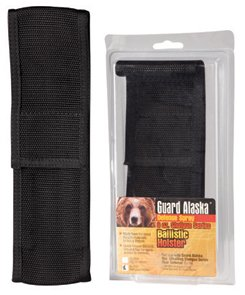 "Guard Alaska Bear Spray with Nylon Holster 3 Size: 9 Ounce Supersize. Range: Approximately 15-20 feet. Dimensions: 8 3/4"" x 2"""