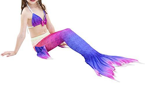 3Pcs/Set Mermaid Tail Swimsuit Swimwear Bathing Suit CCostume Bikini Set,Style 18,Line Tail Costume ()
