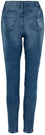 exfaMouSstore Donne Vita Media Tasche Denim da Donna Skinny Elasticizzato Jeans alla Caviglia