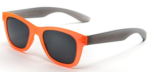 Samba Shades Valencia Polarized Wayfarer Sunglasses with TR90 Unbreakable Construction with Orange Frame, Grey Temples, Grey - Orange At Ca Block