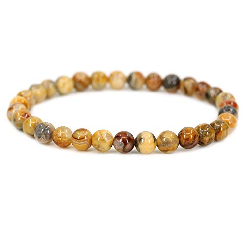 - Natural Crazy Lace Agate Gemstone 6mm Round Beads Stretch Bracelet 7