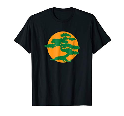 Bonsai Tree t shirt with Orange Sun Japanese Karate Zen ()