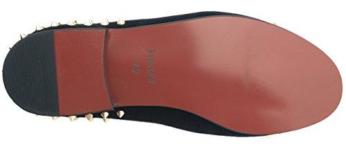 Velvet Slippers Gold Buckle Dress On Flats Spikes Loafers Shoes Slip Men's Black Black Justar with fnX78Rnq