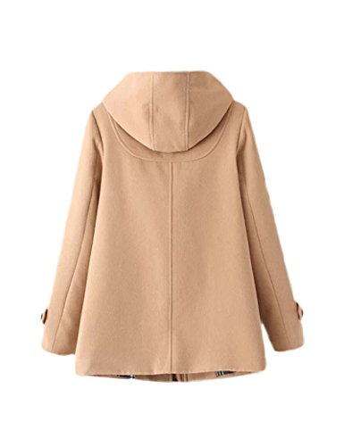 Abrigo de lana de botones de bocina Retro de la mujer Khaki XL