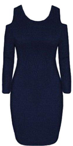 Jaycargogo Femmes Mode Hors Manches Longues Col Ras Du Cou À L'épaule Marine Robe De Soirée Club Bleu Moulante