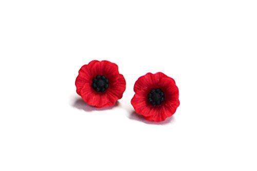 Red Poppy Resin Post Stud Earrings