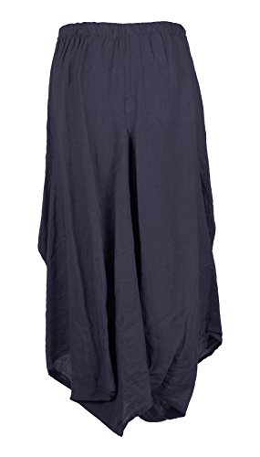 Tulip Lagenlook Long Pocket Skirt Slit Linen Size TEXTURE Navy One Womens 2 Italian Maxi Parachute Elasticated Ladies q4tzHUw