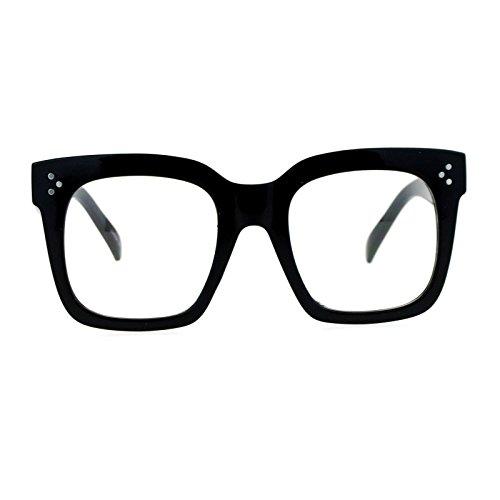 SA106 Oversize Thick Plastic Nerd Rectangular Horn Rim Horned Clear Lens Glasses Shinny Black -