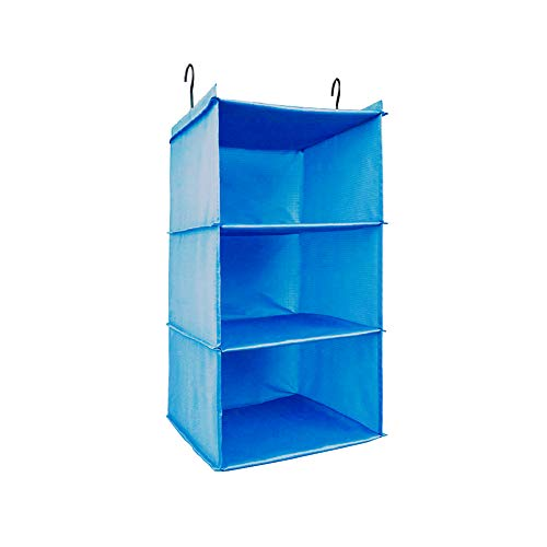 UMEXUS 3 Shelves Foldable Hanging Closet Organizer Hanging Shoe Organizer Oxford Cloth, with 2 Metal Hooks(Blue-3 Shelf)