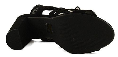 Womens Heerlijke Mazie Zigzag Blok Hak Sandaal Met Gebogen Open Rug Zwart