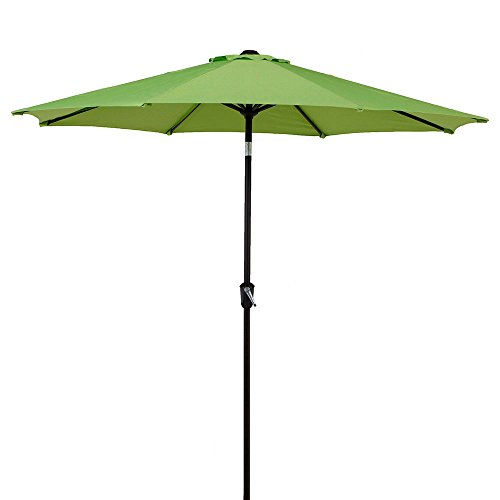 Cheap LCH 9 Ft Patio Umbrella Outdoor Sun Shelter Aluminum 8 Ribs Parasol Table Market Hanging Umbrella Tilt Push Button- Easy Crank Open with Sturdy Pole for Backyard Garden and Pool, Lime Green
