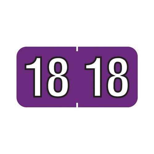 2018 End Tab Year Label (Purple)- 500/Package for cheap