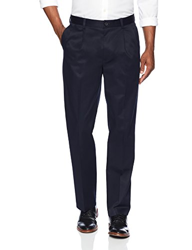 Iron Pleated Pants - Buttoned Down Men's Relaxed Fit Pleated Stretch Non-Iron Dress Chino Pant, Navy, 36W x 32L