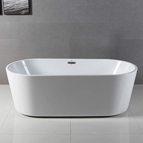 FerdY 59 x 29 Classic Oval Shape Freestanding Soaking Acrylic Bathtub, Modern White, cUPC Certified, Drain Overflow Assembly Included