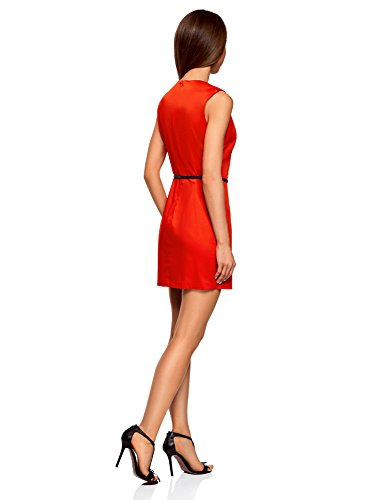 Ultra oodji Rouge Coton en 4500n Cintre Robe Coupe Femme 7dwdRqa