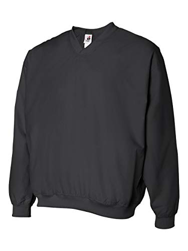Pullover Mens Golf - Badger Sportswear Men's V-Neck Windshirt, black, X-Large