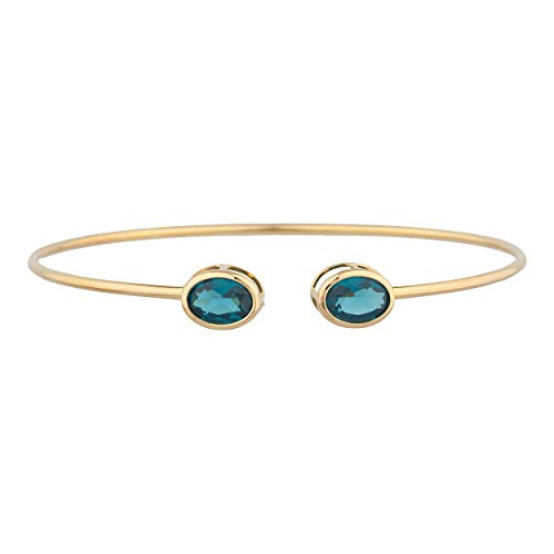 3 Ct London Blue Topaz Oval Bezel Bangle Bracelet 14Kt Yellow Gold Rose Gold -