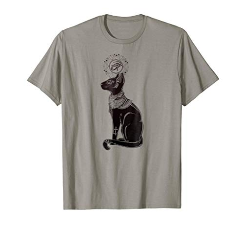 Egyptian Cat Tee - Black Cat with Ankh