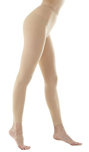 (DZSbestdeal Women's 120 Denier Semi Opaque Solid Color Footless Pantyhose Tights Skine Beige One Size:XS to M)
