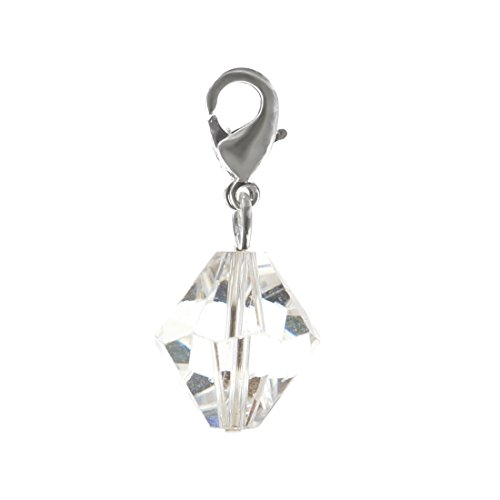 (2pcs Clip On Dangle Birthstone Charms 10mm Austrian Bicone Crystal Pendants with Silver Lobster Clasp 12BB10-L4)
