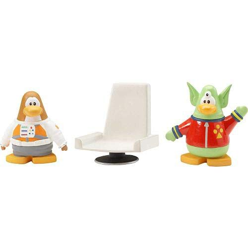 Disneys Club Penguin Series 1 Mix N Match 2 Inch Mini Figure 2-Pack Space Alien and Spaceman by Jakks Pacific