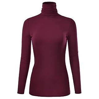 EIMIN Women's Long Sleeve Turtleneck Lightweight Pullover Slim Shirt Top Burgundy 2XL