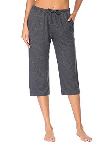 Ekouaer Women's Pajama Pants Comfy Lounge Capri Drawstring Pj Bottoms with Pockets Elastic Sleep Capris Soft Sleepwear