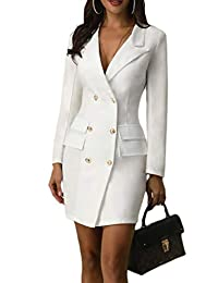 Womens Suit Coat Double Breast V-Neck Long Sleeve Business Dress