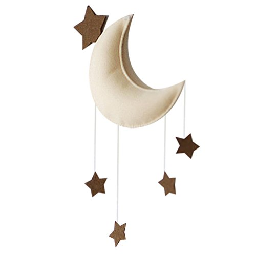 (KOOMAGIC Clouds,Moon with Stars Hanging Ornament Pendant Wall Hanging for Kids Play House Play Tent Crib Canopy Nursery Room Kindergarten Baby Shower Party (Moon and Stars) )