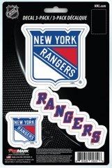 NHL New York Rangers Team Decal, 3-Pack