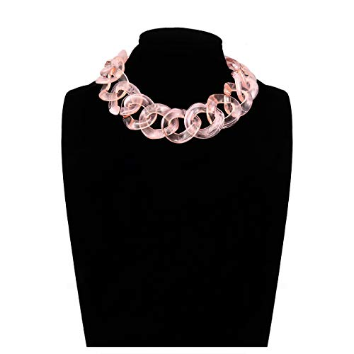 BSJELL Resin Chain Link Necklace Statement Choker Acrylic Chunky Oversized Links Plastic Chain Wide Collar Necklace Fashion Jewelry for Women -