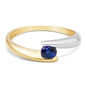 Miore Anello Solitario da Donna in Oro Bicolore 9K con Zaffiro Blu