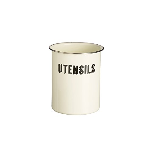 Typhoon Living Coated Steel Retro Utensil Pot, 5-Inches by 6-Inches, Cream