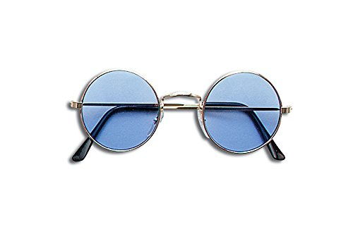 Blue Round Lennon Sunglasses - Fancy Dress John Lennon Costume