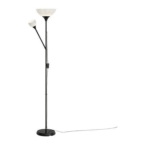 Ikea Not Floor Uplight/Reading Lamp, Black Features