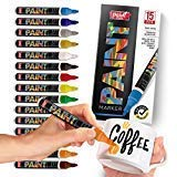 Paint Mark Quick-Dry Paint Pens - Write On Anything! Rock, Wood, Glass, Ceramic & More! Low-Odor, Oil-Based, Fine-Tip Paint Markers (15 Pack)