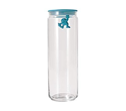 Home Décor Premium Gianni 8-1/2-Cup Glass Jar Aqua Blue Storage