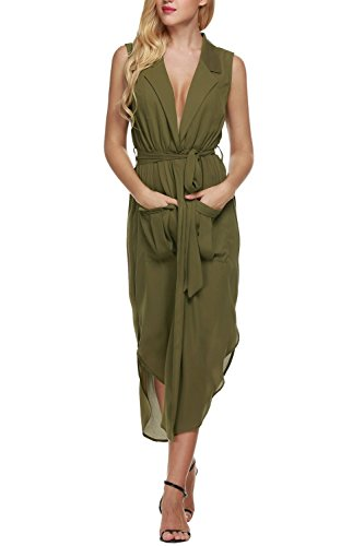OURS Women's Low Cut Tie Waist Split Chiffon Long Beach Dress Cover Ups