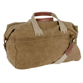 J. Fold New York Roadster 19'' Carry-on Canvas Duffel Khaki with Leather Trim
