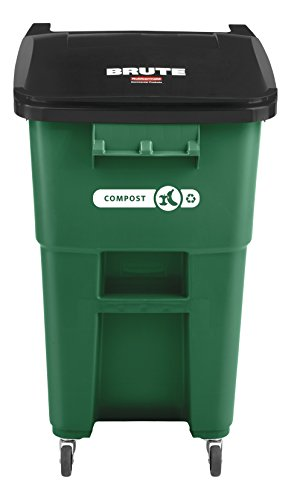 Rubbermaid Commercial Products BRUTE Rollout Recycling/Compost Can with Caster Wheels, 50-gallon, Green (2018382)