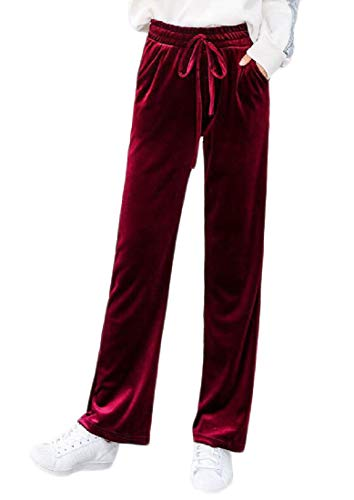 Pandapang Women High Waisted Casual Wide Leg Palazzo Trousers Loose Velour Pants Wine Red XS ()