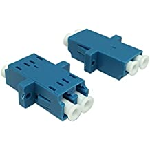 CERRXIAN LC Duplex Fiber Optic Adapter LC Female to LC Female Duple Single Mode Multimode Network Internet Fiber Optical Coupler Connector Adapter with Mount Panel (Blue,2-Pack)