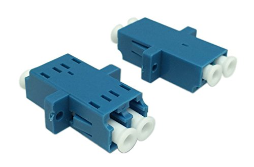 Cerrxian LC Duplex Fiber Optic Adapter LC Female to LC Female Duple Single Mode Multimode Fiber Optical Coupler Connector Adapter with Mount Panel (Blue,2-Pack) (Coupler Optic)
