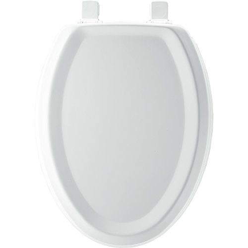 Bemis Wood Bowl (Mayfair Traditional Sculptured Molded Wood Toilet Seat featuring Easy Clean & Change Hinges and STA-TITE Seat Fastening System, Elongated, White, 125ECA 000)